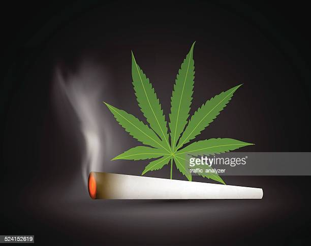 marijuana leaf and joint - hashish stock illustrations, clip art, cartoons, & icons