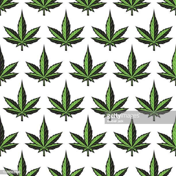marijuana leaf background. marijuana leaf drawing seamless tiled vector stock illustration - marijuana leaf stock illustrations