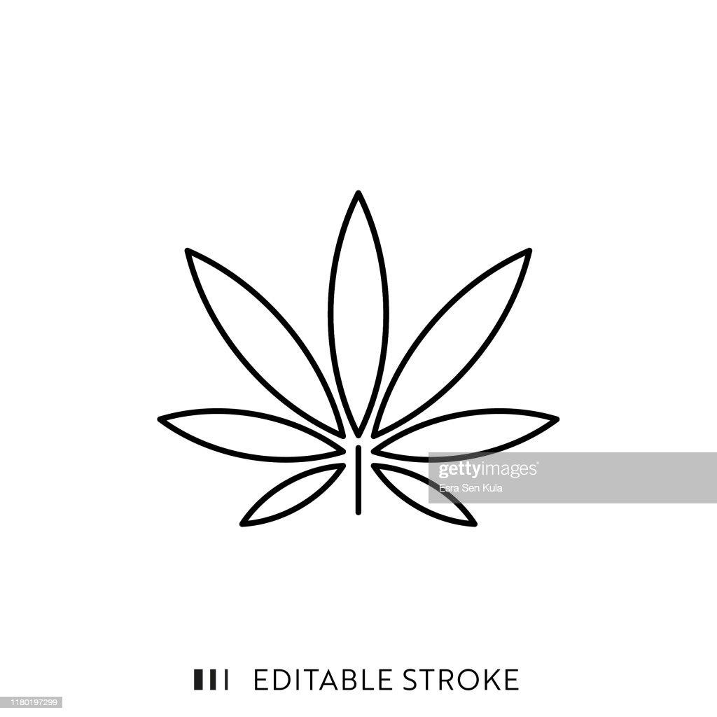 編集可能なストロークとピクセルパーフェクトとマリファナの葉のアイコン。 : ストックイラストレーション