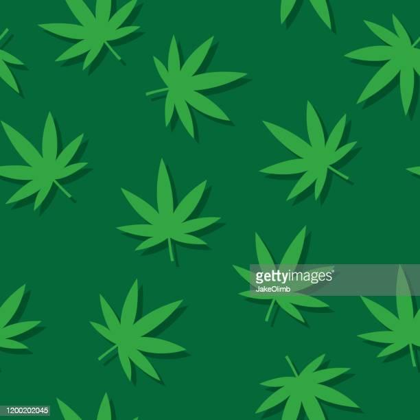 marijuana leaf pattern flat - marijuana leaf stock illustrations