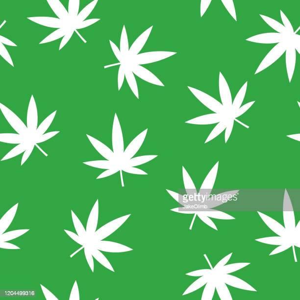 marijuana leaf pattern silhouette - marijuana leaf stock illustrations