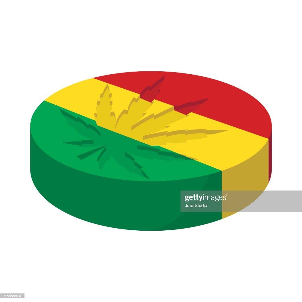 Marijuana leaf with rastafarian colors icon