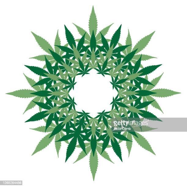 marijuana leaves wreath - marijuana leaf stock illustrations