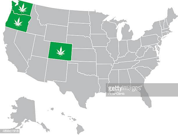 usa marijuana map - marijuana leaf text symbol stock illustrations, clip art, cartoons, & icons