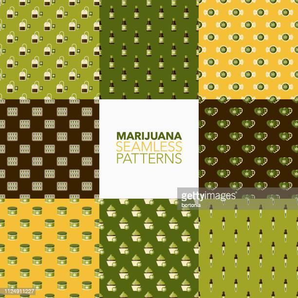 marijuana patterns - hemp stock illustrations, clip art, cartoons, & icons