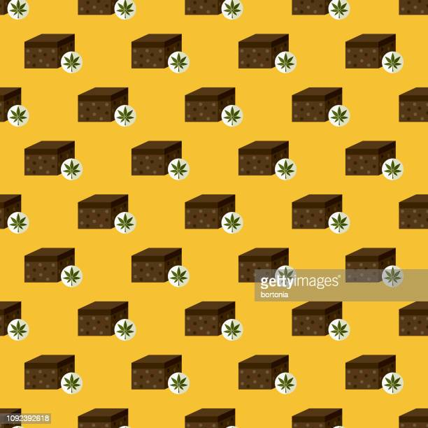 marijuana seamless pattern - brownie stock illustrations, clip art, cartoons, & icons