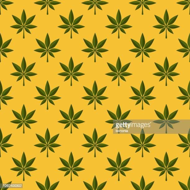 marijuana seamless pattern - marijuana leaf stock illustrations