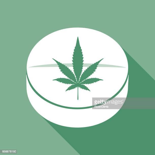 marihuana-tablet-symbol - cannabis medicinal stock-grafiken, -clipart, -cartoons und -symbole