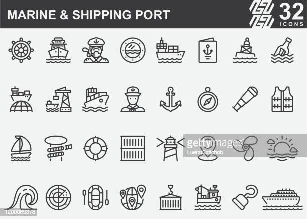marine and shipping port line icons - harbour stock illustrations