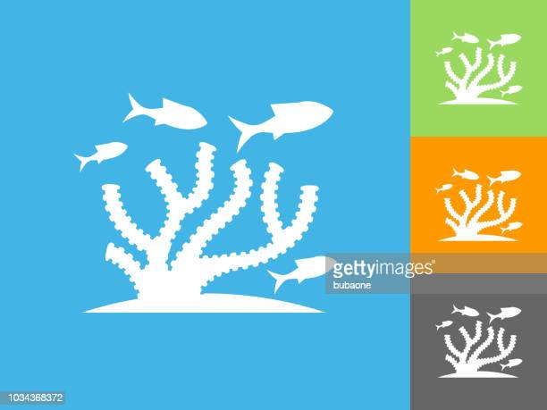 Marine Animals Flat Icon on Blue Background