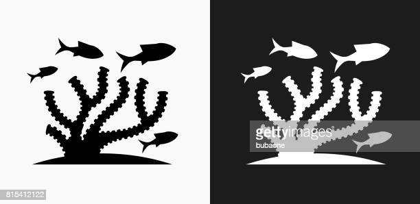 Marine Animals Icon on Black and White Vector Backgrounds
