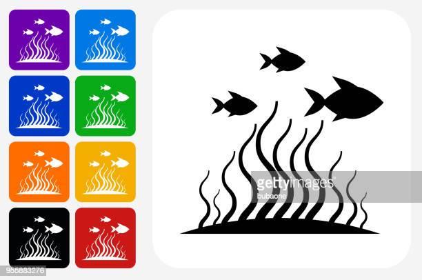 Marine Animals Icon Square Button Set