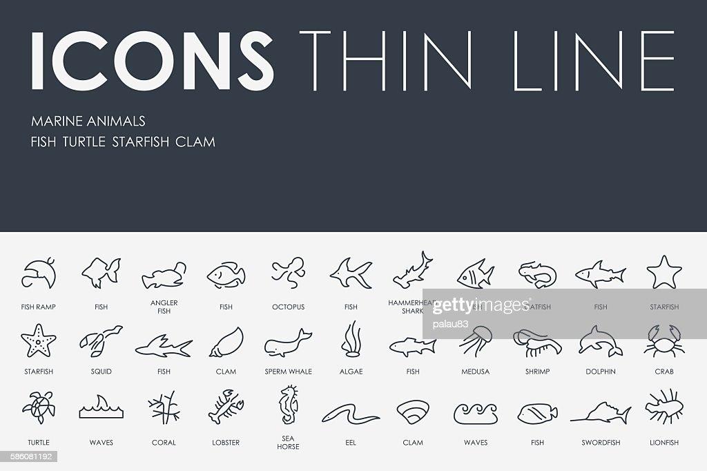 Marine Animals Thin Line Icons