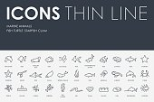 Marine Animals Thin Line Icons