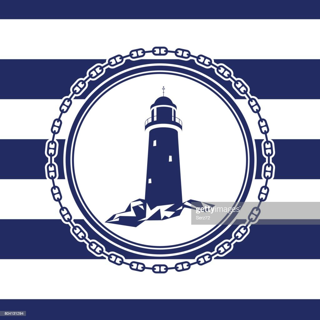 Marine Emblem with Lighthouse