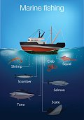 Marine Fishing infographic elements. Vector illustration