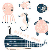 Marine graphic elements, sea horse, whale, octopus, lobster, fish,turtle vector clipart. Cute cartoon characters in modern style