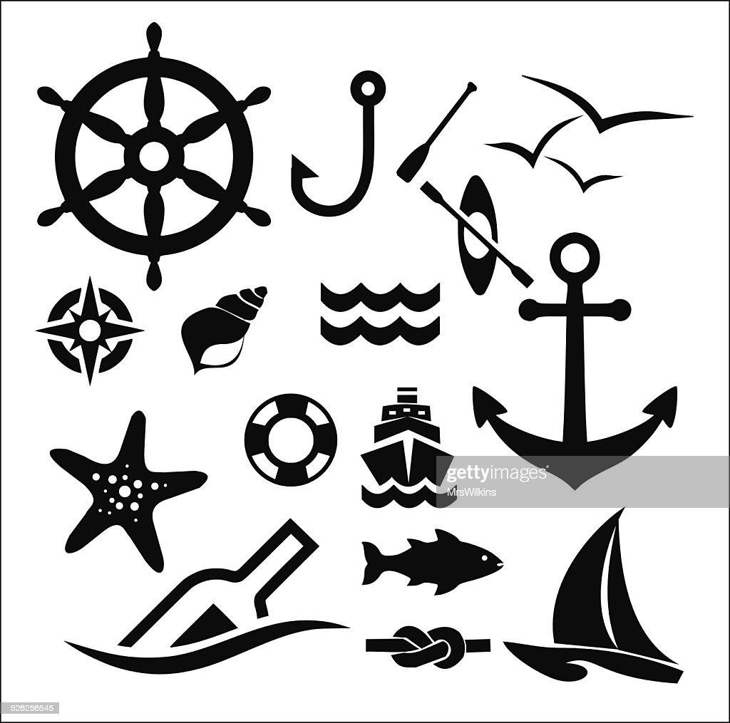 Marine icon set vector illustration