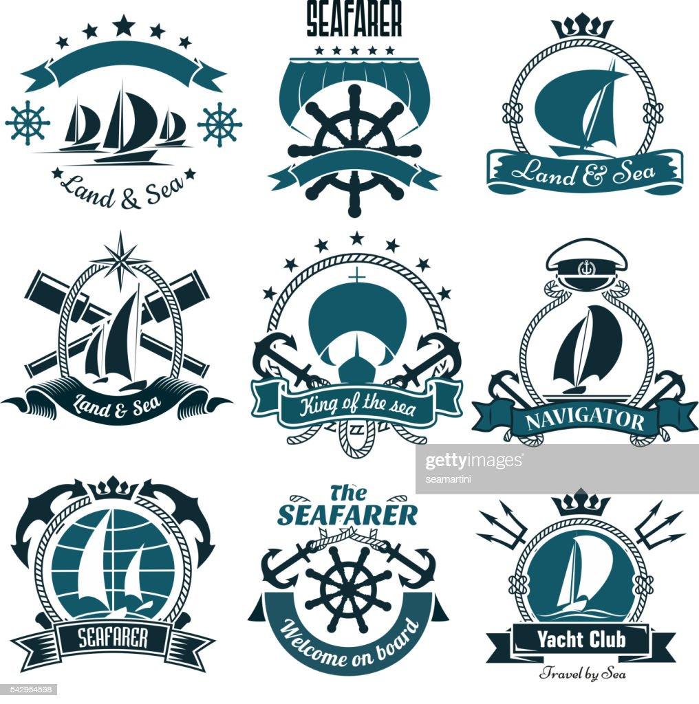 Marine icons for sailing sport, sea travel design
