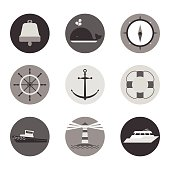 Marine icons in circles