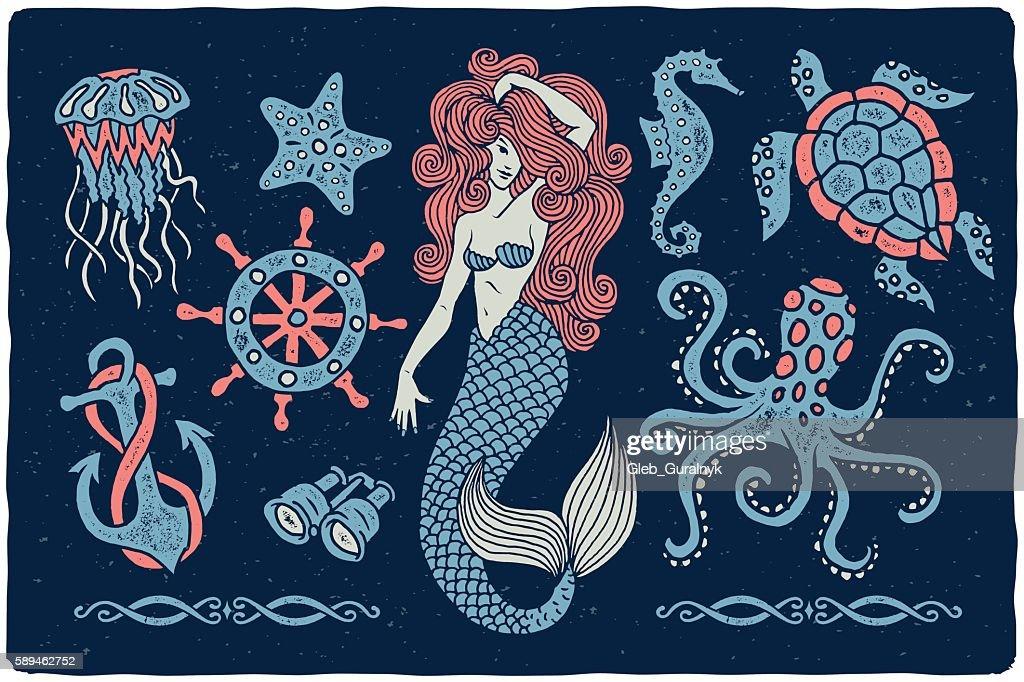 Marine illustrations set..