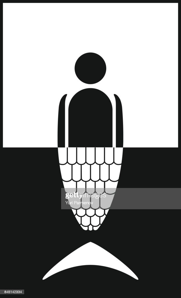 Marine label. Mermaid black and white vector icon.