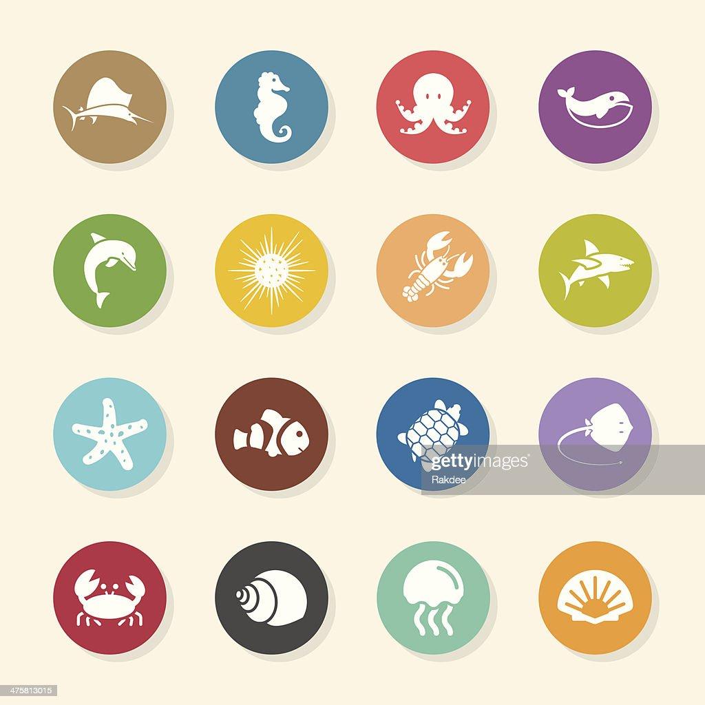 Marine Life Icons - Color Circle Series