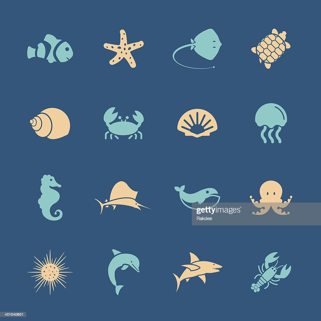 Marine Life Icons - Color Series   EPS10