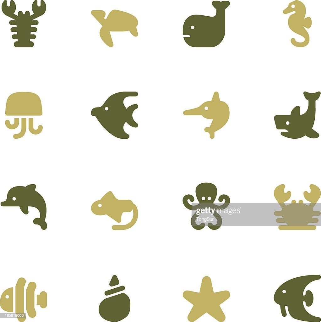 Marine Life Icons   set - Color Series