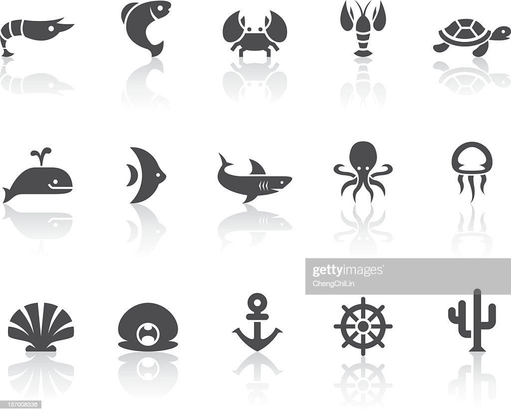 Marine Life Icons | Simple Black Series : stock illustration