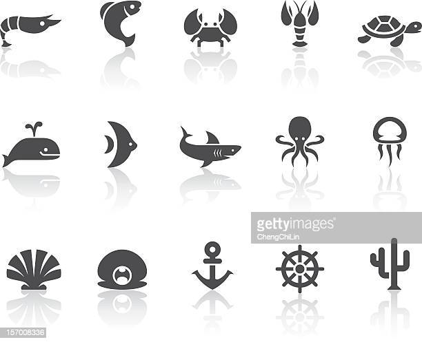 Marine Life Icons | Simple Black Series