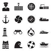 Marine Port Icons. Black Flat Design. Vector Illustration.