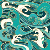 marine seamless pattern with water waves