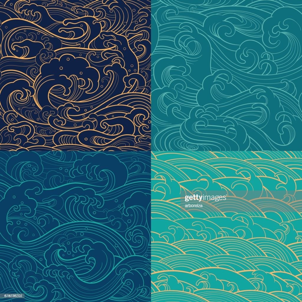 marine set: color outline seamless patterns