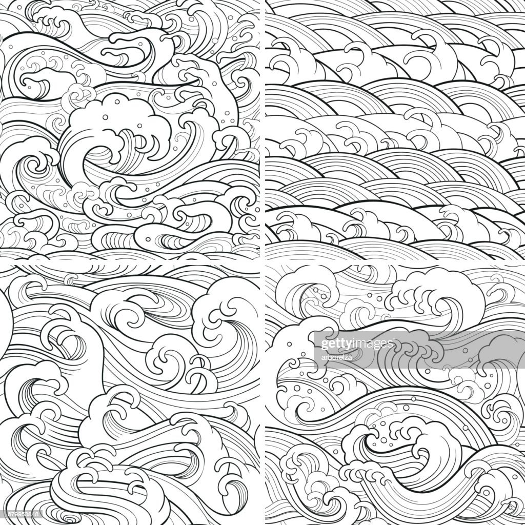 marine set: outline seamless patterns