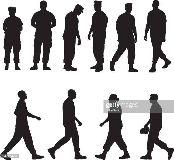 marine soldier silhouettes 2 - military personnel stock illustrations, clip art, cartoons, & icons