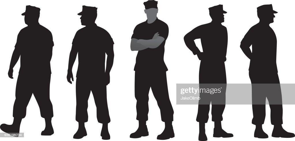 Marine Soldier Silhouettes