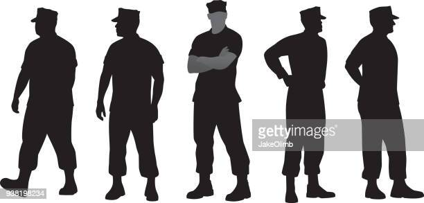 marine soldier silhouettes - military personnel stock illustrations, clip art, cartoons, & icons