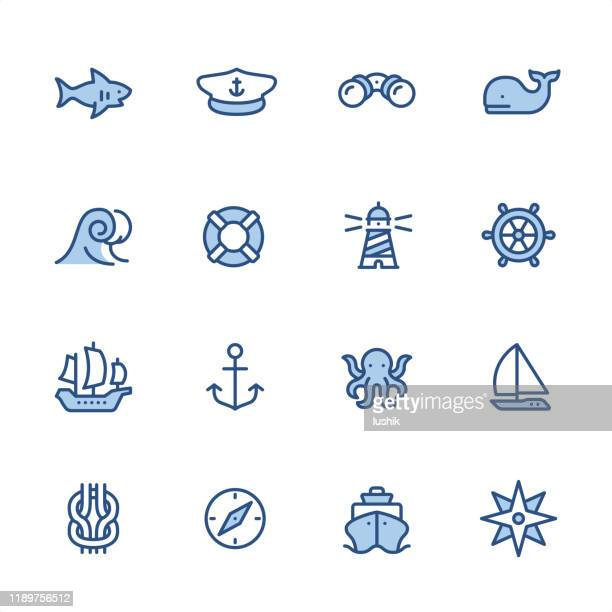 marine theme - pixel perfect navy blue outline icons - navy blue stock illustrations