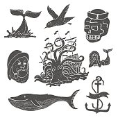 Marine themes & tattoo. Sailor. Ocean. Octopus. Whale. Skull. Anchor.