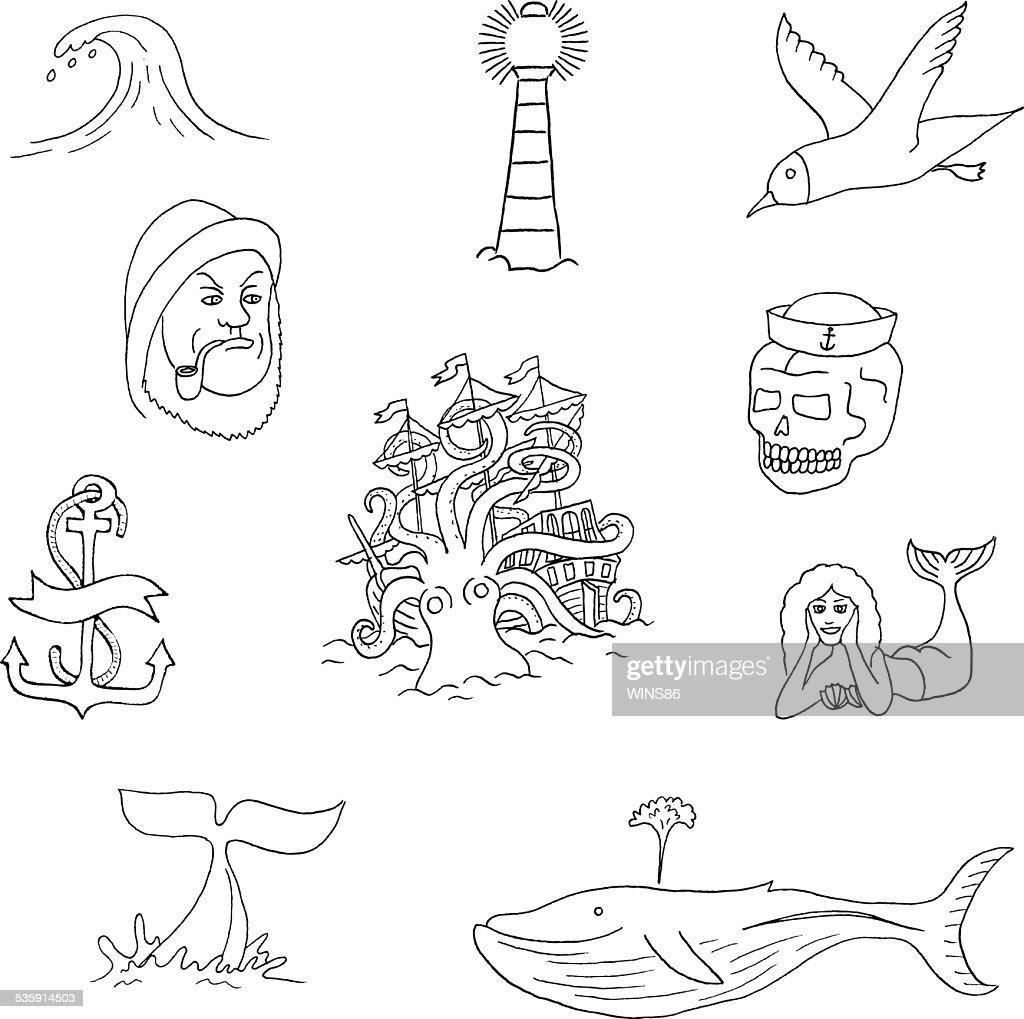 Marine temas & tatuaje. : Arte vectorial
