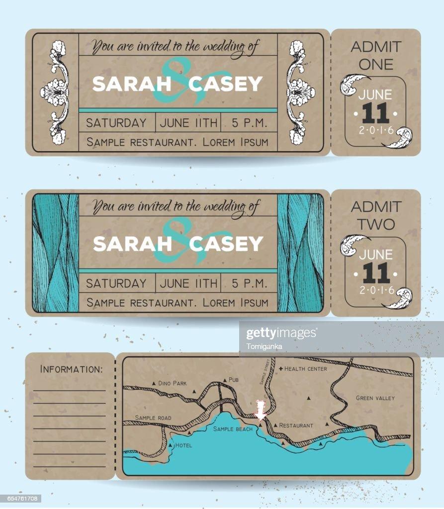 Marine wedding invitation set