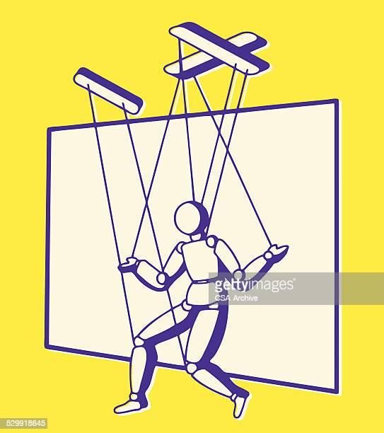 marionette - puppet stock illustrations, clip art, cartoons, & icons