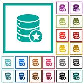 Marked database flat color icons with quadrant frames