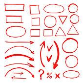 Marker hand drawn doodle elements vector illustration