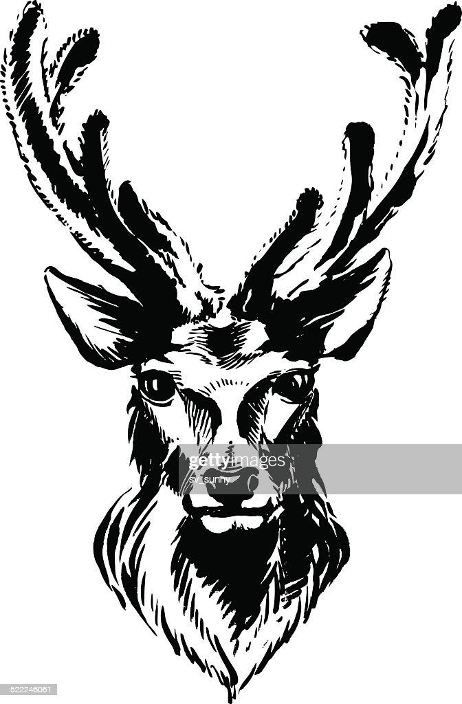 Marker hand-drawn forest animals: deer