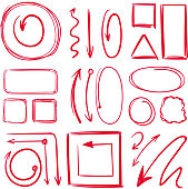 Marker, underlines and different doodle frames with arrows. Vector hand drawn collection