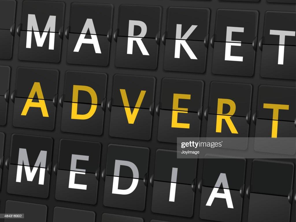 market advert media words on airport board