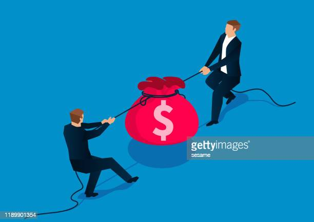 market competition, two businessmen tug a river to grab a purse - war stock illustrations