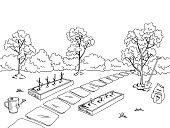 Market garden graphic black white landscape sketch illustration vector
